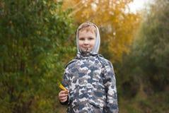 使用与黄色叶子的男孩 秋天在城市公园, 免版税库存照片