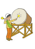 使用与鼓的回教亚裔男孩 库存例证