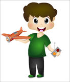 使用与他的飞机的小男孩遥控 免版税库存照片