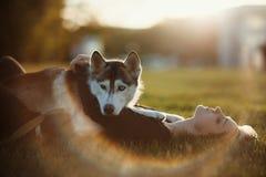 使用与滑稽的多壳的狗的美丽的少妇户外在公园在日落或日出 库存图片