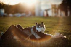 使用与滑稽的多壳的狗的美丽的少妇户外在公园在日落或日出 免版税库存图片