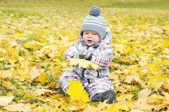 使用与黄色叶子的可爱的婴孩 库存照片