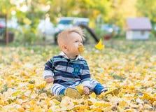 使用与黄色的小男婴在公园离开 库存照片