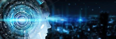 使用人工智能的靠机械装置维持生命的人头创造数字式inte 库存照片