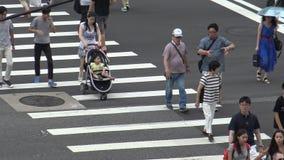 使用伞,4K,亚裔人民横跨街道走在台北市, 股票视频