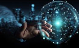 使用全息图数据数字式球形3D翻译的商人 库存图片
