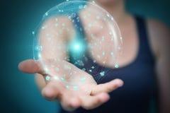 使用全息图数据数字式球形3D翻译的女实业家 图库摄影
