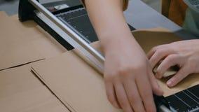 使用切纸机,断头台的妇女 影视素材