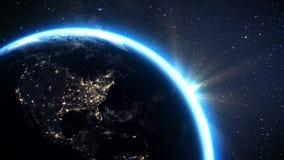 使用卫星图象美国航空航天局, 3d回报 行星地球有夜间的美国从空间的区域和日出 皇族释放例证