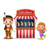 使用印地安服装的动画片女孩在马戏比赛摊 向量例证