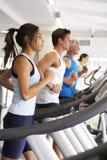 使用另外健身房设备的人 免版税库存照片
