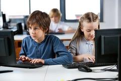 使用台式计算机的学童在计算机实验室 免版税图库摄影
