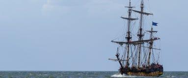 使用向量船的例证略写法准备好的航行 免版税库存图片