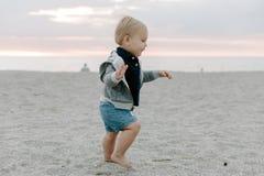 使用和探索在沙子的逗人喜爱的矮小的男婴孩子画象在海滩在日落外部期间在度假在有冠乌鸦的 免版税图库摄影