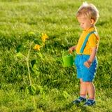 使用喷壶的一个岁男婴为向日葵 图库摄影
