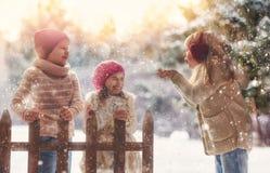 使用在一个冬天的女孩和男孩走 免版税库存图片
