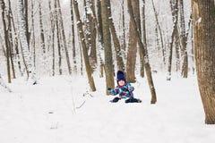 使用在一个美丽的多雪的冬天公园的愉快的小孩女孩在圣诞节 免版税库存照片