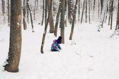 使用在一个美丽的多雪的冬天公园的愉快的小孩女孩在圣诞节 库存照片