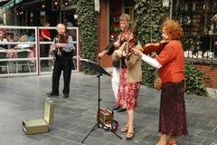 使用在一条街道上的街道音乐家在安特卫普 免版税库存照片