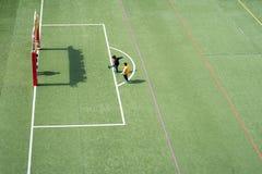 使用在中国学校体育场大角度视图的孩子 免版税图库摄影