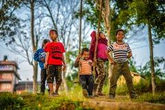 使用在传统竹摇摆的尼泊尔孩子 免版税图库摄影