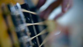 使用在低音吉他的吉他弹奏者 股票录像
