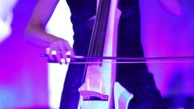 使用在低音提琴,葡萄酒的音乐家的手,低音提琴球员递弹奏最低音乐器 股票录像