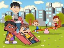 使用在公园动画片的逗人喜爱和滑稽的孩子 向量例证