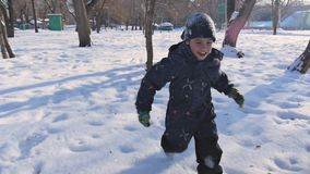 使用在冬天日落的森林里的小孩 股票录像