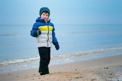 使用在冬天海滩的逗人喜爱的小男孩 免版税库存照片
