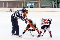 使用在冰曲棍球队的球员的之间顽童 免版税库存图片