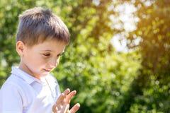 使用在城市公园的逗人喜爱的小男孩在一个夏天晴天 库存图片