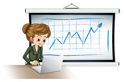 使用在委员会前面的女实业家膝上型计算机 图库摄影