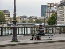 使用在巴黎街道的音乐家  库存照片