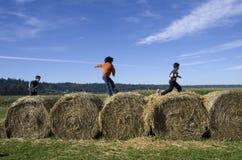 使用在干草捆的孩子在南瓜种田 免版税库存照片