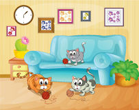 使用在房子里面的三只猫 向量例证