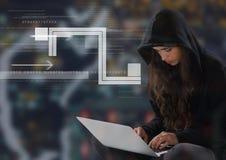使用在数字式背景前面的妇女黑客一台膝上型计算机 库存图片