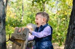 使用在森林的愉快的男性孩子 免版税库存图片