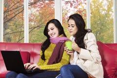 使用在沙发的两名妇女膝上型计算机 库存图片