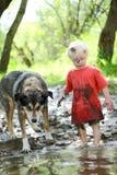 使用在泥泞的河的幼儿和狗 免版税库存照片