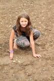 使用在泥的讨厌的女孩 库存图片