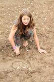 使用在泥的讨厌的女孩 库存照片