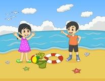 使用在海滩动画片传染媒介例证的孩子 库存照片