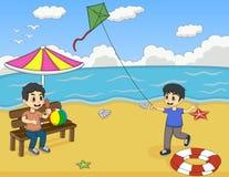 使用在海滩动画片传染媒介例证的孩子 库存图片