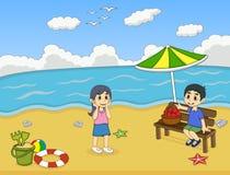 使用在海滩动画片传染媒介例证的孩子 免版税库存照片