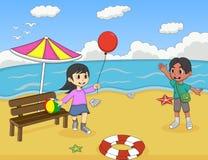 使用在海滩动画片传染媒介例证的孩子 免版税库存图片