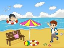 使用在海滩动画片传染媒介例证的孩子 免版税图库摄影