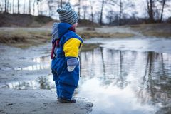 使用在湖岸的小男孩 库存照片