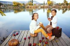 使用在湖附近的孩子在秋天 免版税图库摄影