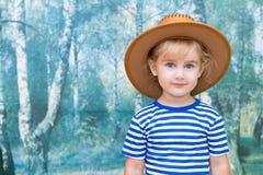 使用在牛仔的小女孩 库存图片